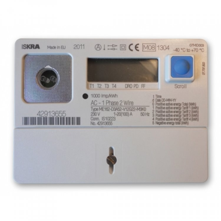 Iskraemeco Me162 100a Single Phase Electronic Meter D3a52