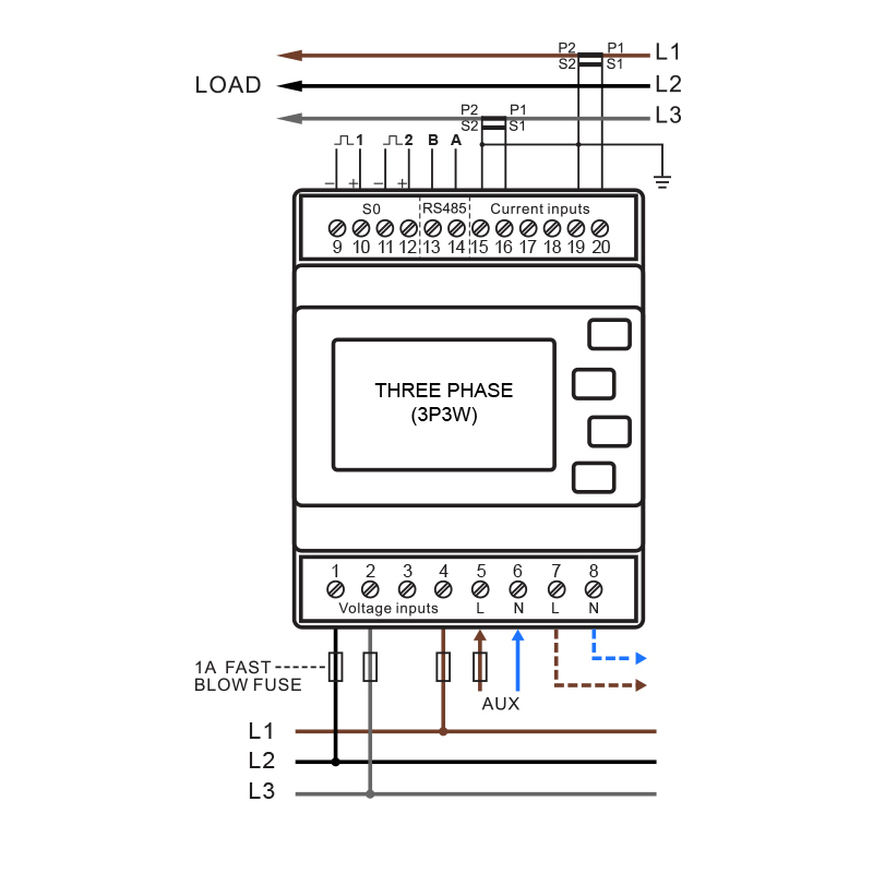 smartrail x835 mid multi function power meter pulse modbus comms smartrailx835 wiring diagram 3 p3 w