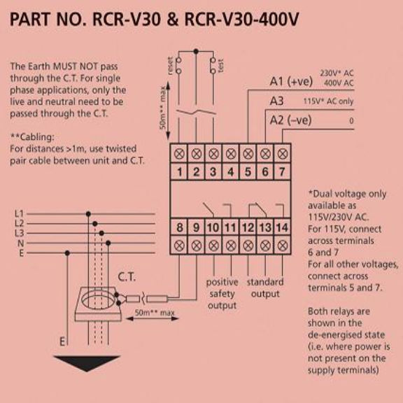 hobut rcr v30 earth leakage relay for single or three phase systems rcr wiring diagram