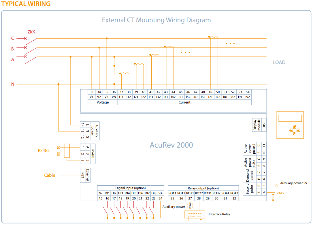 Accuenergy Acurev2000 Series Multi Circuit Modular Power Energy Meter Ct Wiring Diagram Acurev External Module